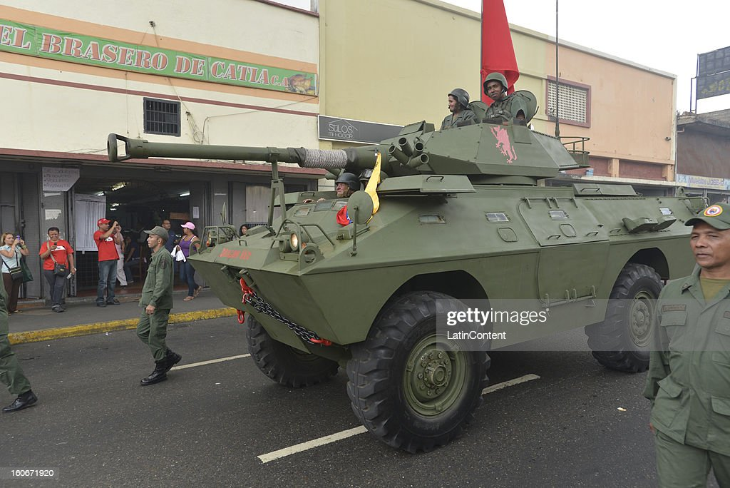 Militars parade during the 11th anniversary of a failed coup that Chavez commanded in 1992, on February 04, 2013 in Caracas, Venezuela. This event catapulted him to win the presidency in 1998 and begin the Bolivarian Revolution. President Chavez still remains hospitalized in Havana .