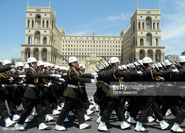 Military academy cadets parade to mark the nation's Republic Day in central Baku the capital of Azerbaijan on May 28 2014 Armeniabacked separatists...