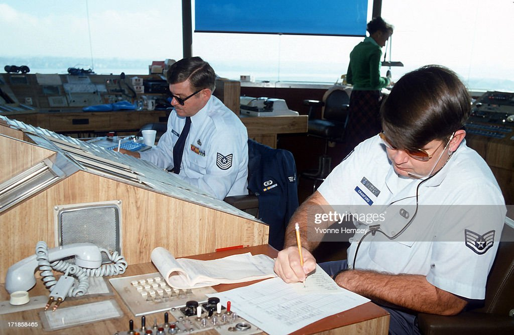 Military Air Force traffic controllers are photographed August 10 1981 at La Guardia airport in New York City after they replaced PATCO striking...