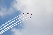 Planes on an air show against cloudy sky