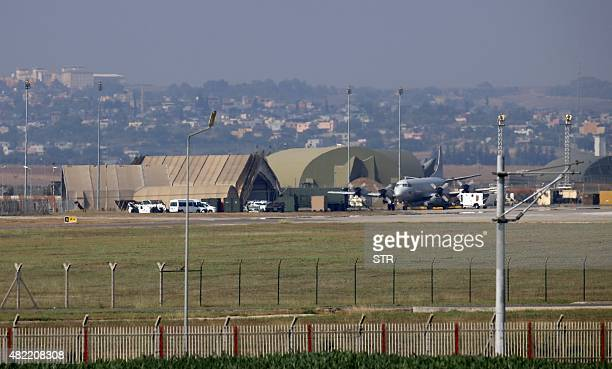 A military aircraft is pictured on the runway at Incirlik Air Base in the outskirts of the city of Adana southeastern Turkey on July 28 2015 After...