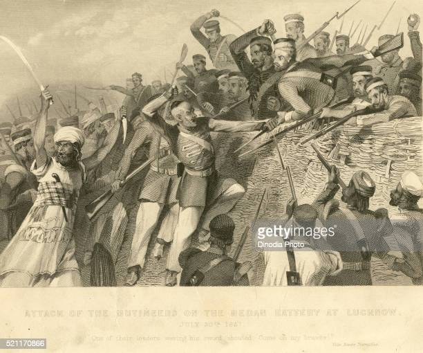 Military and munity mutiny views attack of mutineers on Redan battery at Lucknow 30th July 1857, Uttar Pradesh, India
