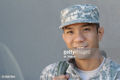 Military Asian army man with copy space : Stock Photo