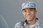Military Asian army man with copy space on the left.