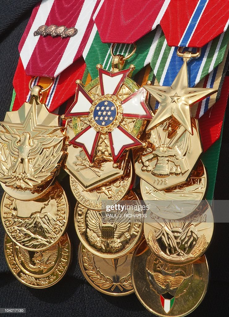 Military Awards And Decorations Are Seen On The Chest Of A US Army Ranger  Col.