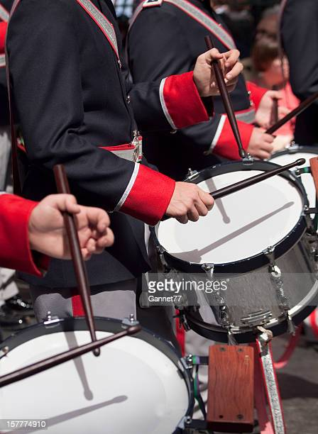 Military Band drummers in Semana Santa procession, Spain