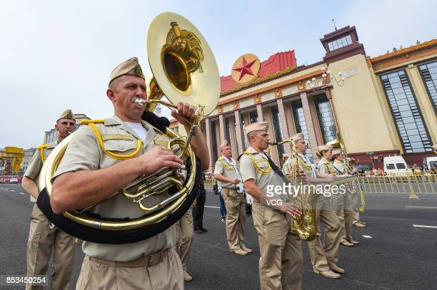 A military band from Ukraine perform during the opening parade of the 5th Nanchang International Military Tattoo on September 24 2017 in Nanchang...