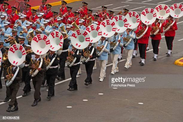 Military band marching on Military parade commemorating 196th anniversary of Peruvian independence