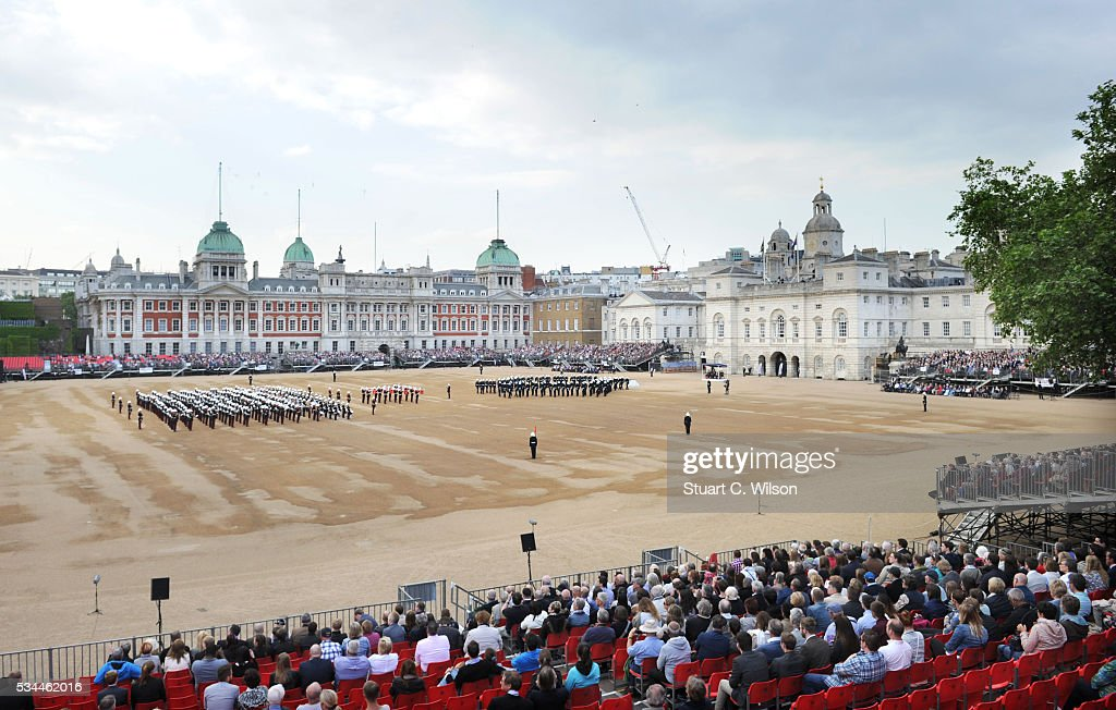Military bands from the Royal Marines perform for Prince Phillip, Duke of Edinburgh during the Beating Retreat at Horse Guards Parade on May 26, 2016 in London, England.