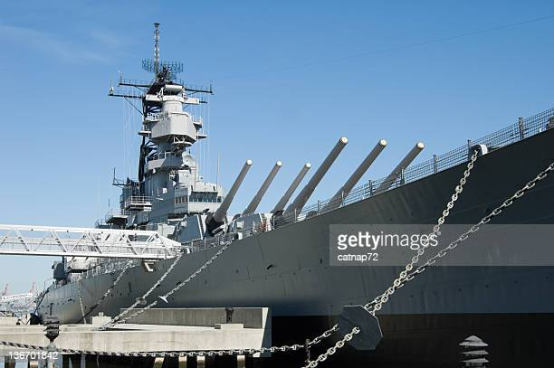 Military Battleship in Dock, US Navy WW2