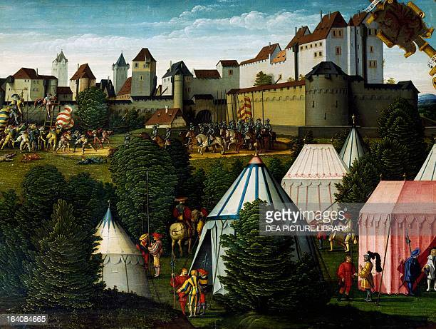 Military camp detail from The story of David by Hans Sebald Beham of painted on wood Germany 16th century Paris Musée Du Louvre