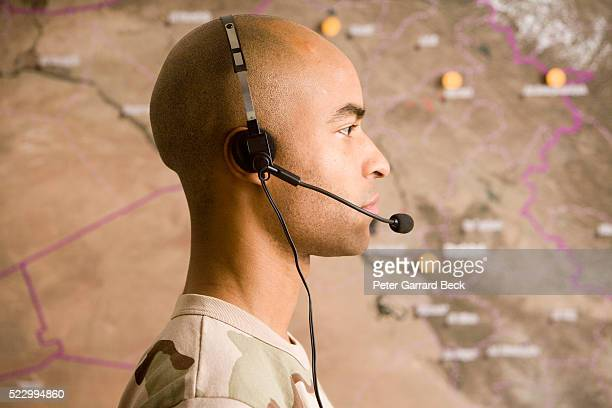 Military Cartographer with Headset