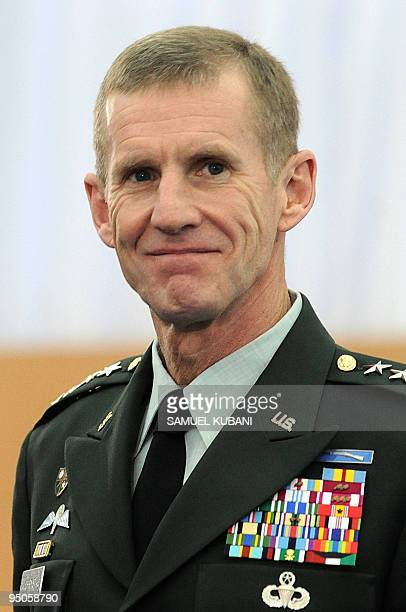 US Military commander in Afghanistan General Stanley McChrystal looks on during an Informal Meeting of NATO Defence Ministers on October 23 2009 in...