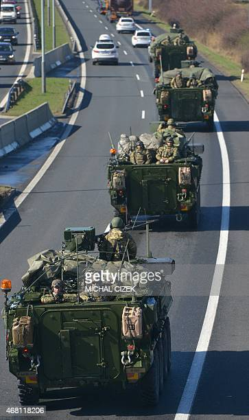 US military convoy arrives in Prague after entering the Czech Republic at the border crossing in Harrachov on the way from Baltic countries to base...