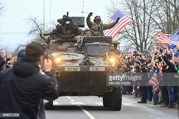 US military convoy including IAV Strykers arrives to the Czech army barracks on March 30 2015 in Prague after entering the Czech Republic at the...