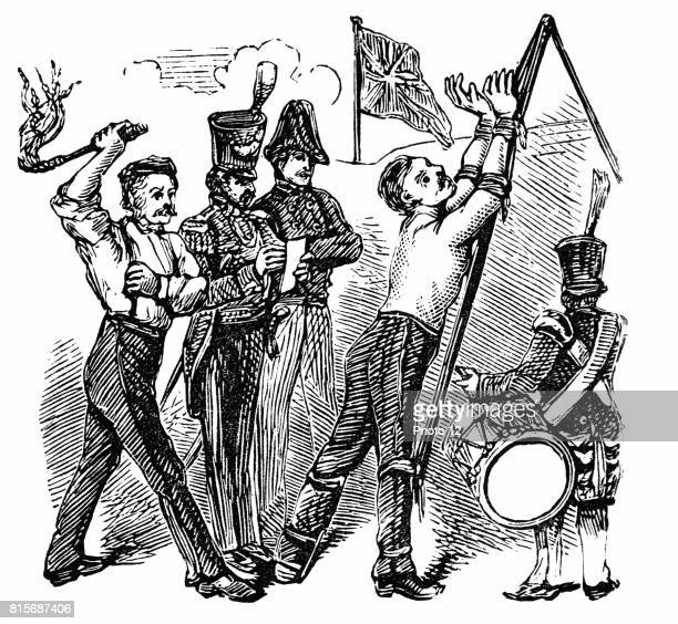 British soldier tied to the Triangle being flogged with CatONineTails In 1867 Parliament abolished flogging in the services Wood engraving 19th...