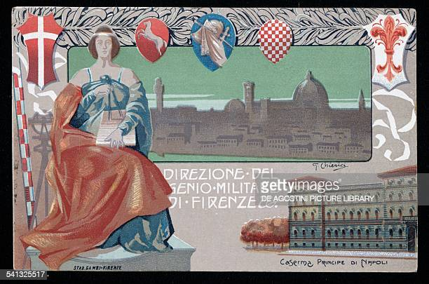 Military Engineer Command in Florence Prince of Naples barracks postcard Italy early 20th century