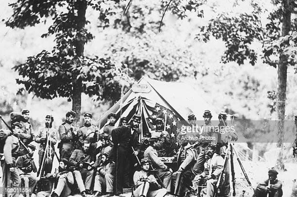 Military engineers of Company R 8th New York State Militia in front of their captain's tent at Camp McDowell Arlington Heights Virginia USA 1861 Like...