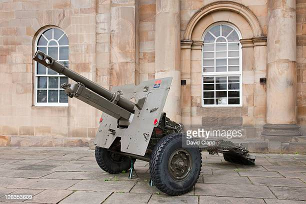 A military gun outside the Castle Museum in York City, East Yorkshire, England, UK