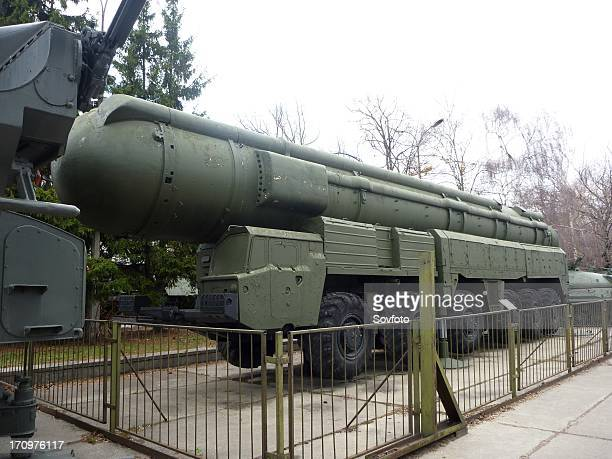 Military hardware on display in the outdoor potion of the central museum of armed forces moscow russia april 2011