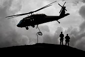 Military Helicopter Aids Army Soldiers