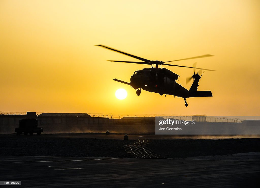 Military helicopter in Afghanistan : Stock Photo