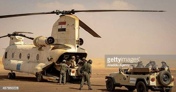 Military helicopters and soldiers of Egyptian Armed Forces are seen as Egypt reinforces its 2 and 3 armies in the Sinai Peninsula Egypt on October 27...