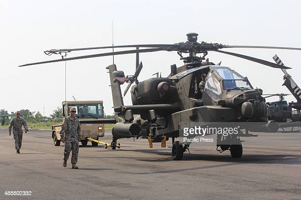 Military helicopters take part during the 8th Joint Exercise Garuda Shield 2014 at Army Air Base at Ahmad Yani Airport in Semarang Central Java...