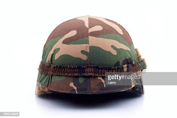A military helmet isolated on a white background