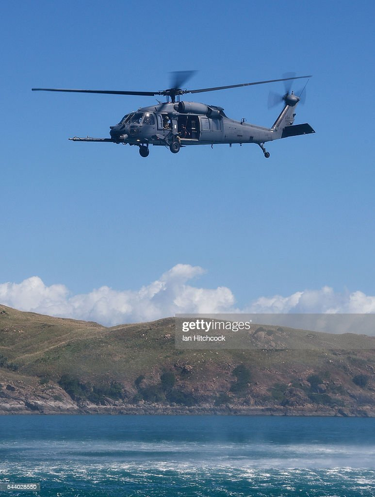 S military HH-60 Pave Hawk Helicopter is seen flying over a simulated crash site during Exercise Angel Reign on July 1, 2016 in Townsville, Australia. Exercise Angel Reign is the largest Air Force led field exercise in Australia this year and is a bilateral Joint Personnel Recovery exercise which aims to practice search and rescue activities both at sea and on land.