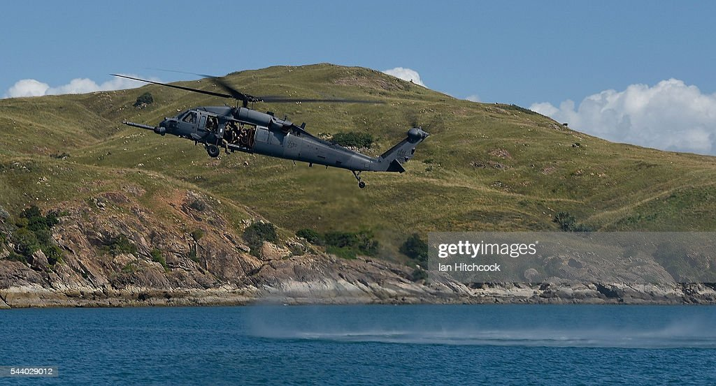 S military HH-60 Pave Hawk Helicopter is seen hovering over a simulated crash site during Exercise Angel Reign on July 1, 2016 in Townsville, Australia. Exercise Angel Reign is the largest Air Force led field exercise in Australia this year and is a bilateral Joint Personnel Recovery exercise which aims to practice search and rescue activities both at sea and on land.