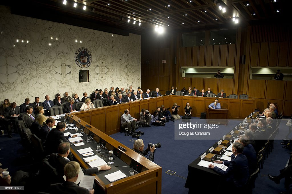 U.S. military leaders, including all six members of the Joint Chiefs of Staff, testify before the Armed Services Committee hearing on pending legislation regarding sexual assaults in the military in the Senate Hart Office Building on June 4, 2013.