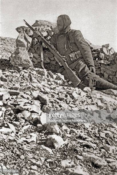 A military lookout stationed above a plateau of dolomitic gravel Photography Dolomites Italy August 1915