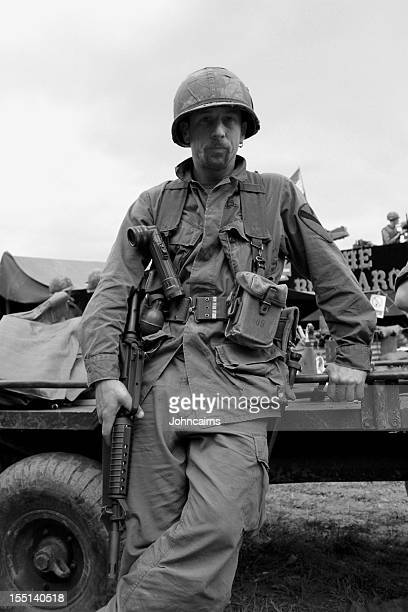 Military man in a black and white photo