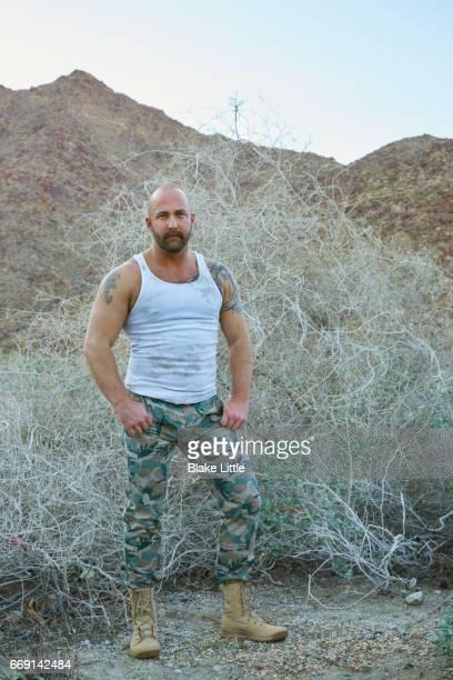 Military Man in Desert w tank top