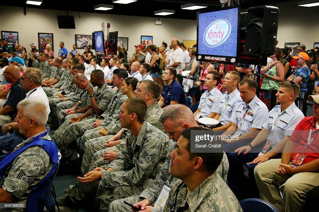 U.S. Military Members attend the driver's meeting prior to the NASCAR XFINITY Series Subway Firecracker 250 at Daytona International Speedway on July 1, 2016 in Daytona Beach, Florida.