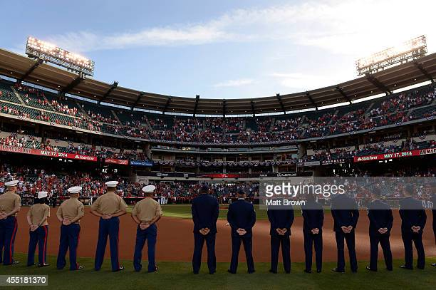 Military members during Armed Forces Day before the game between the Tampa Bay Rays and Los Angeles Angels of Anaheim on May 17 2014 at Angel Stadium...