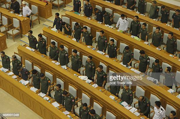 Military members of parliament attend the Union parliament session in Naypyidaw on April 9 2015 AFP PHOTO / SOE THAN WIN