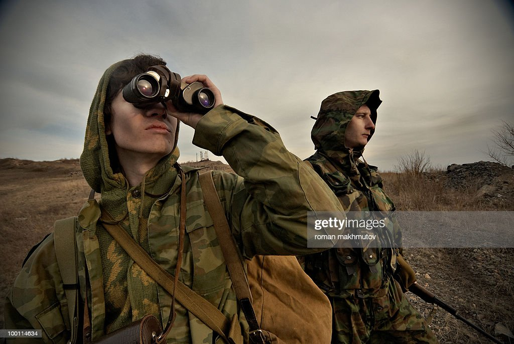 Military men on watch : Stock Photo