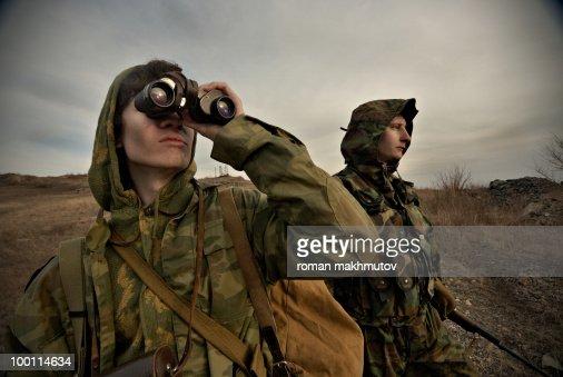 Military men on watch : Stock-Foto