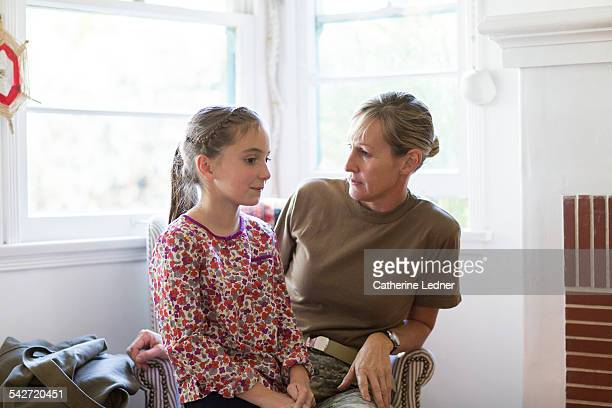 Military Mom at home having a serious conversation