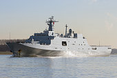 Chinese military naval amphibious transport ship leaving port.