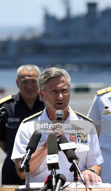 US military official Vice Admiral William Douglas Crowder addresses the media during a press conference on US supercarrier USS Kitty Hawk in the Bay...