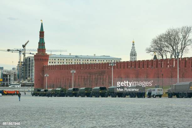 Military on the Red Square near Kremlin, Moscow