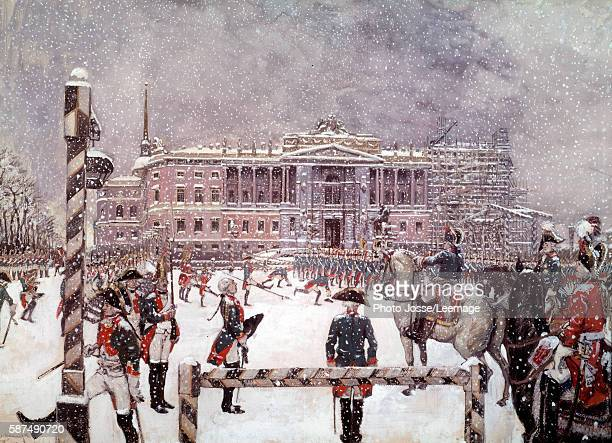 Military Parade in front of Mikhailovsky Palace in the presence of Paul I Russian Emperor Engraving 19th century Peterhof Castle Saint Petersburg...