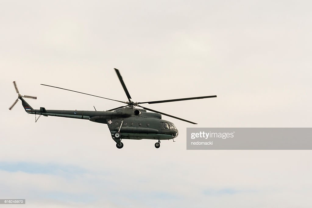 Military parade in Novi Sad - Military helicopter : Stock Photo