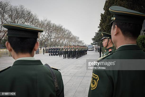 Military parade rehearsal at the Great Hall of the People on March 21 2016 in Beijing China At the invitation of president Xi Jinping Joachim Gauck...