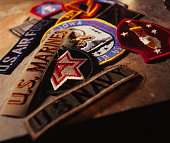 a pile of military patches, selective focus.
