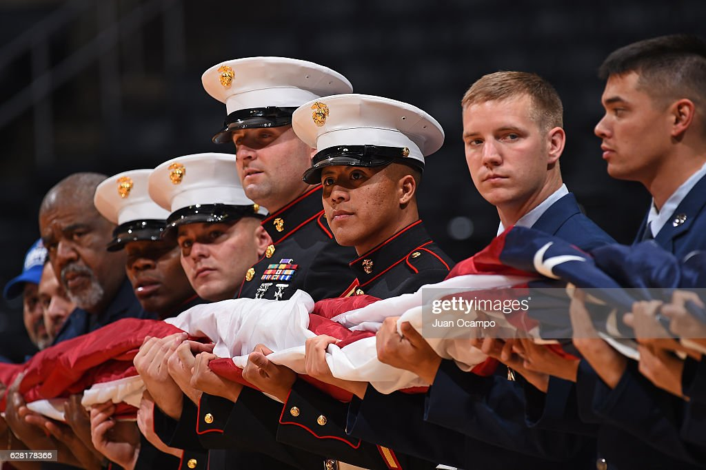 U.S. Military personel stand for the National Anthem before the game between the Detroit Pistons and the LA Clippers on November 7, 2016 at the STAPLES Center in Los Angeles, California.
