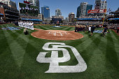 S Military personnel line the field as part of Military Opening Day before a baseball game between the San Diego Padres and the San Francisco Giants...
